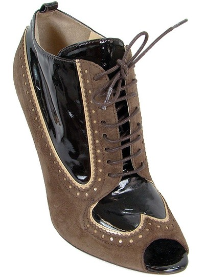 Moschino Perforated Peep Toe Wedge Patent Leather Brown Boots Image 1