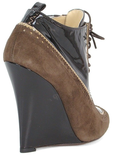 Moschino Perforated Peep Toe Wedge Patent Leather Brown Boots Image 2