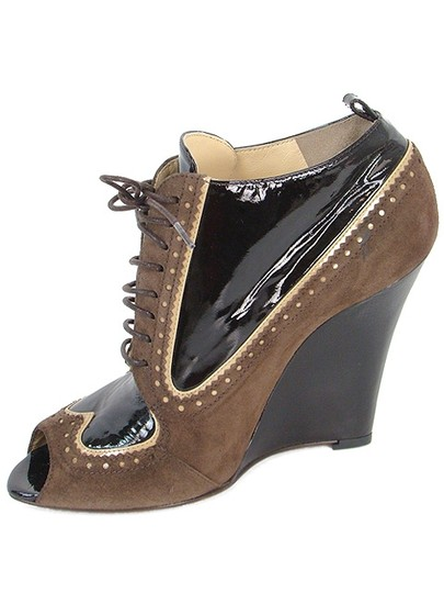 Moschino Perforated Peep Toe Wedge Patent Leather Brown Boots Image 3