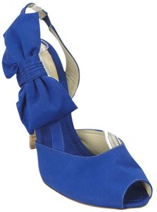Moschino Bow Peep Toe Slingback Blue Sandals