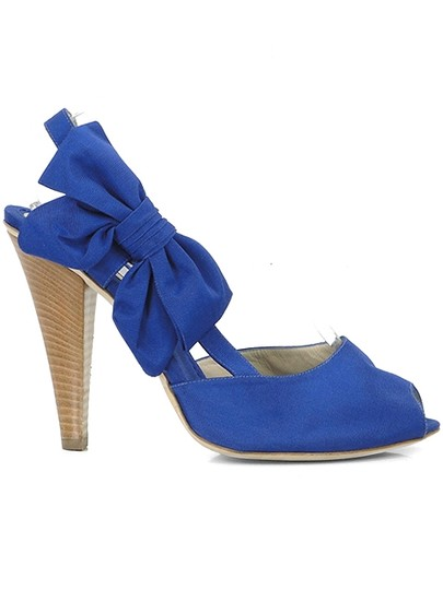 Moschino Bow Canvas Peep Toe Slingback Blue Sandals Image 1