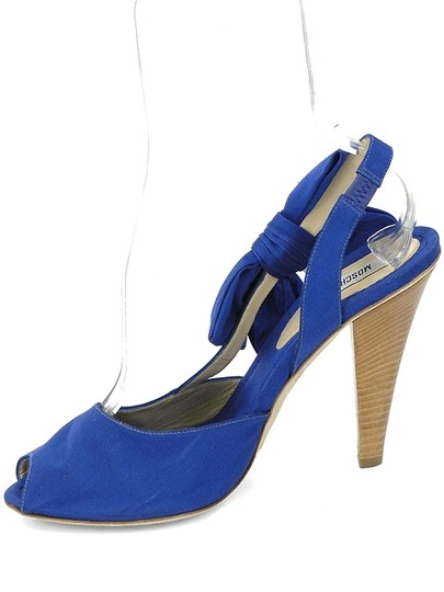 Moschino Bow Canvas Peep Toe Slingback Blue Sandals