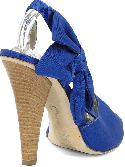 Moschino Bow Canvas Peep Toe Slingback Blue Sandals Image 3