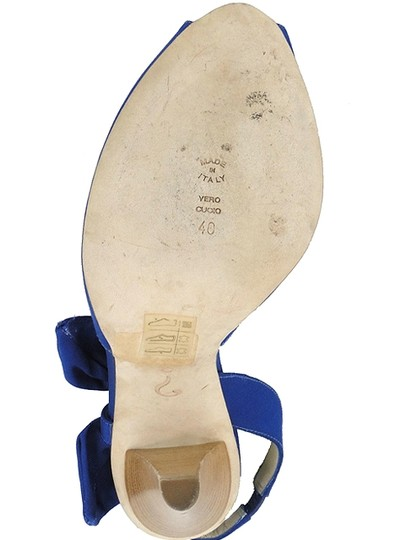 Moschino Bow Canvas Peep Toe Slingback Blue Sandals Image 4