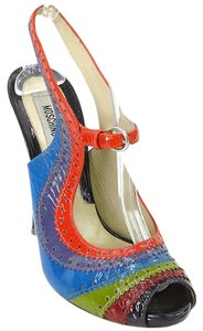 Moschino Rainbow Slingback Perforated Patent Leather Peep Toe Blue, Green, Red, Burgundy Sandals