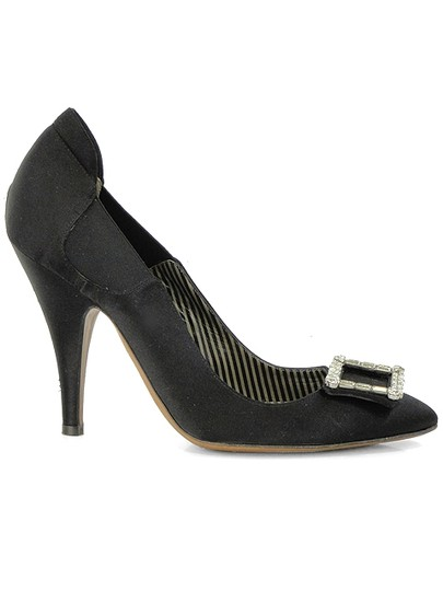 Moschino Pointed Toe Satin Jeweled Buckle Black Pumps