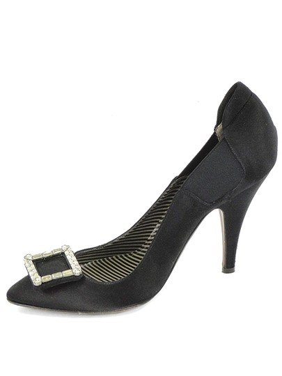 Moschino Pointed Toe Satin Jeweled Buckle Black Pumps Image 3