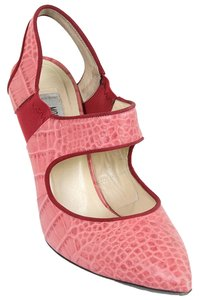 Moschino Croc Crocodile Alligator Mary Jane Embossed Pink Pumps