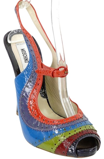 Item - Blue Green Red Burgundy - Rainbow Patent Leather Slingbacks Sandals Size US 9