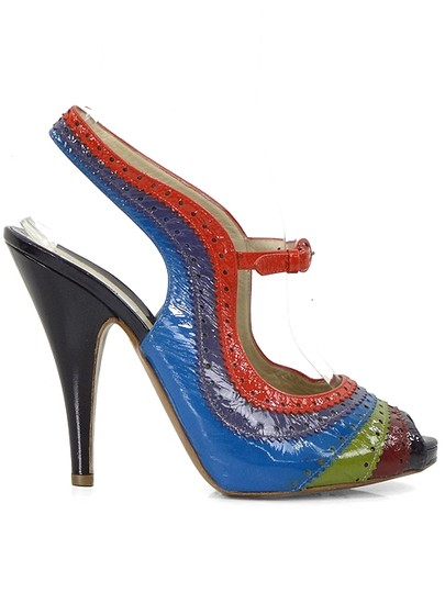 Moschino Perforated Slingback Patent Leather Rainbow Blue, Green, Red, Burgundy Sandals Image 1