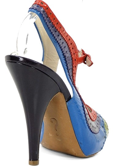 Moschino Perforated Slingback Patent Leather Rainbow Blue, Green, Red, Burgundy Sandals