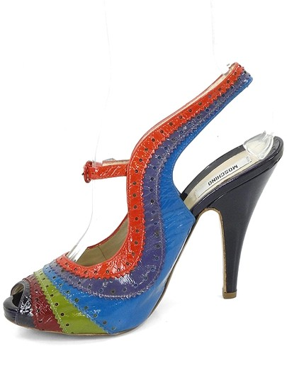 Moschino Perforated Slingback Patent Leather Rainbow Blue, Green, Red, Burgundy Sandals Image 3