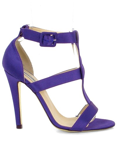 Moschino Satin T-strap Purple Sandals Image 1