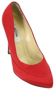 Moschino Platform Hidden Platform Silk Red Pumps
