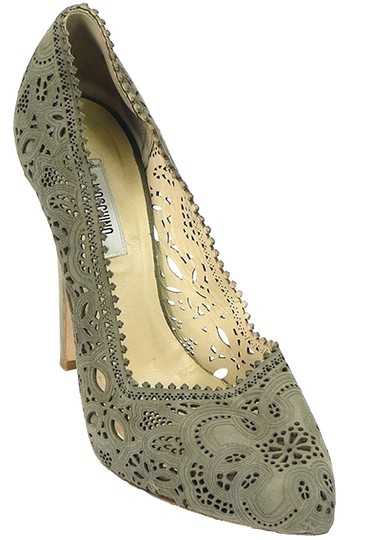 Moschino Cut-out Suede Taupe, Champagne, gray Pumps Image 0
