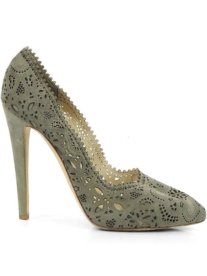 Moschino Cut-out Suede Taupe, Champagne, gray Pumps Image 1