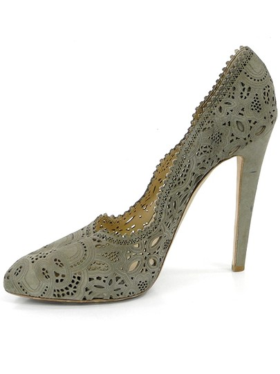 Moschino Cut-out Suede Taupe, Champagne, gray Pumps Image 3