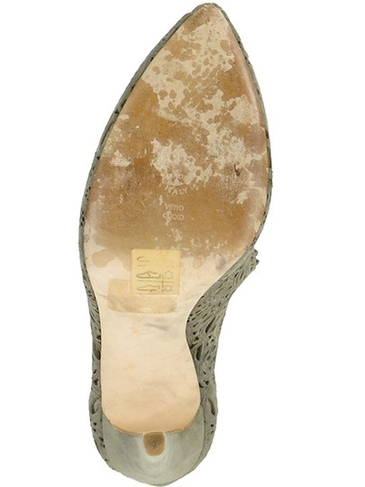 Moschino Cut-out Suede Taupe, Champagne, gray Pumps Image 4