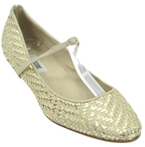 Moschino Gold Woven Pointed Toe Mary Jane Yellow, Gold Flats