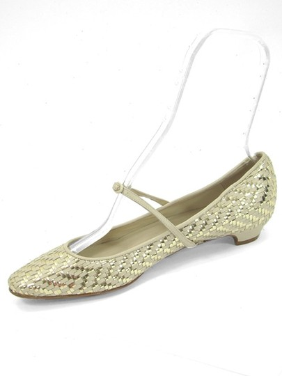 Moschino Woven Pointed Toe Mary Jane Yellow, Gold Flats Image 3