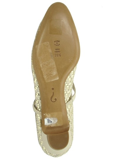 Moschino Woven Pointed Toe Mary Jane Yellow, Gold Flats Image 4