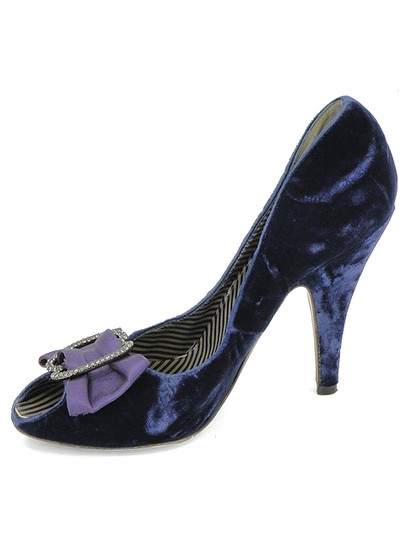 Moschino Velvet Peep Toe Diamond Bow Purple, Blue Pumps