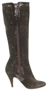 Moschino Suede Patent Leather Knee High Brown Boots