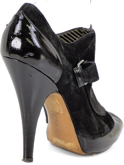 Moschino Hidden Platform Suede Peep Toe Ankle Patent Leather Black Boots