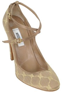 Moschino Lace Satin Strappy Mary Jane Taupe, Champagne, gray Formal