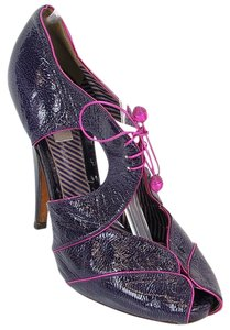 Moschino Patent Leather Cut-out Hidden Platform Purple Boots