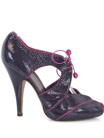 Moschino Patent Leather Cut-out Hidden Platform Purple Boots Image 1