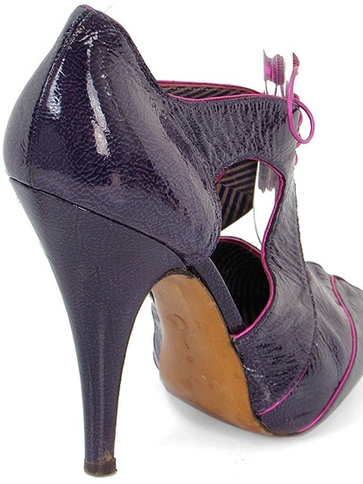 Moschino Patent Leather Cut-out Hidden Platform Purple Boots Image 2