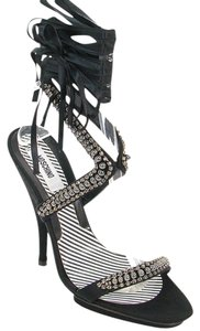 Moschino Jeweled Ribbon Strappy Platform Satin Black Sandals