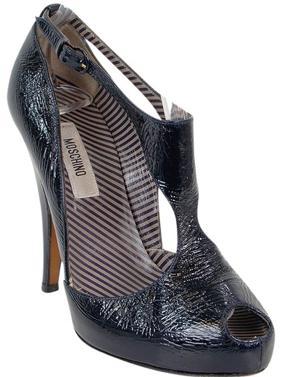 Moschino Patent Leather Peep Toe Cut-out Gladiator Hidden Platform Black Boots