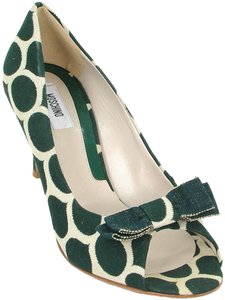 Moschino Canvas Print Animal Print Green and Cream Pumps
