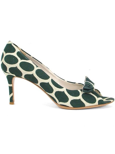 Moschino Canvas Print Animal Print Peep Toe Green and Cream Pumps