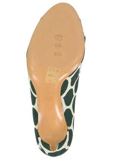 Moschino Canvas Print Animal Print Peep Toe Green and Cream Pumps Image 3