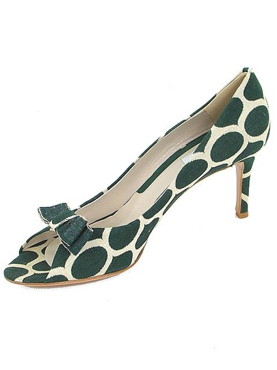Moschino Canvas Print Animal Print Peep Toe Green and Cream Pumps Image 4