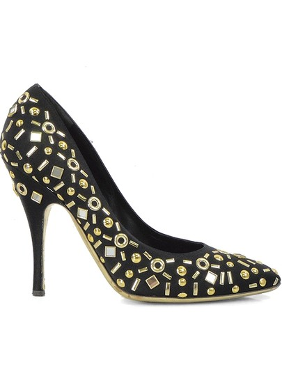 Moschino Monogram Beaded Pointed Toe Satin Mirror Black, Gold Pumps