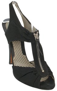 Moschino Zipper Satin Cut-out Sandal Hidden Platform Black Boots