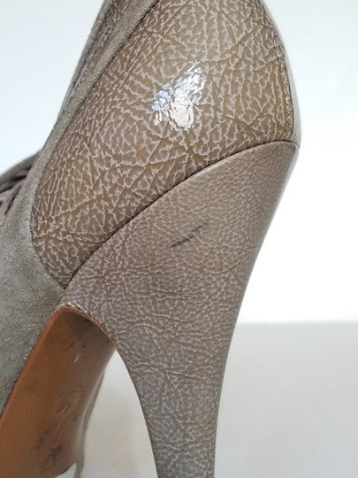 Moschino Suede Patent Leather Peep Toe Taupe, Champagne, gray Boots Image 5