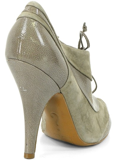 Moschino Suede Patent Leather Peep Toe Taupe, Champagne, gray Boots