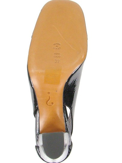 Moschino Patent Leather Cut-out Square Toe Chunky Black Pumps