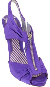 Moschino Satin Zipper Cut-out Purple Sandals
