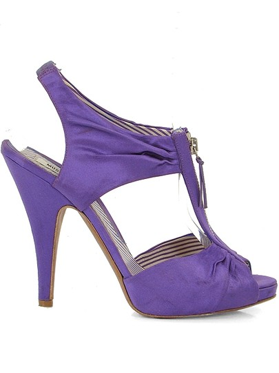 Moschino Satin Zipper Cut-out Purple Sandals Image 1