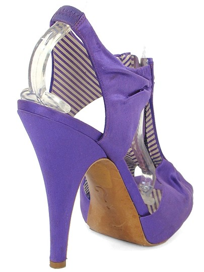 Moschino Satin Zipper Cut-out Purple Sandals Image 2