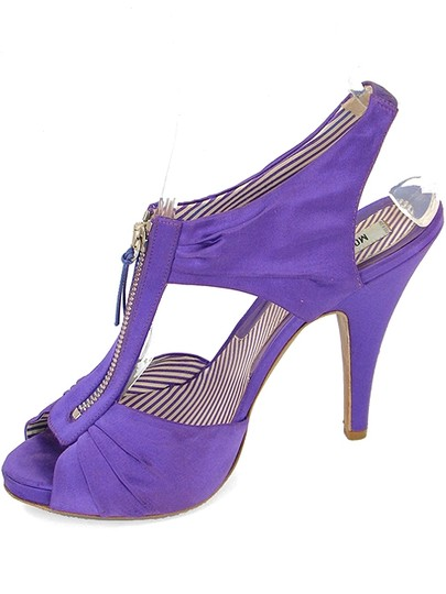 Moschino Satin Zipper Cut-out Purple Sandals Image 3