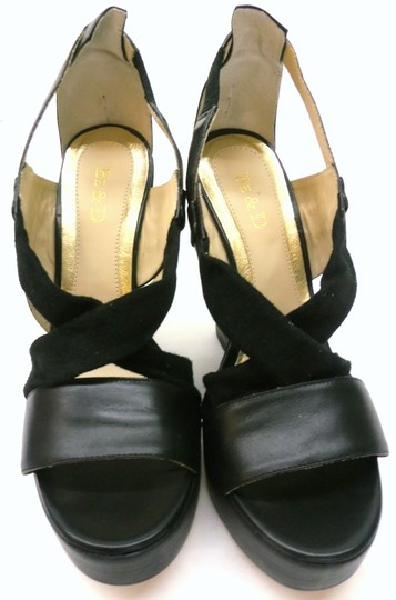 Be&D Platform Luxury Black Wedges