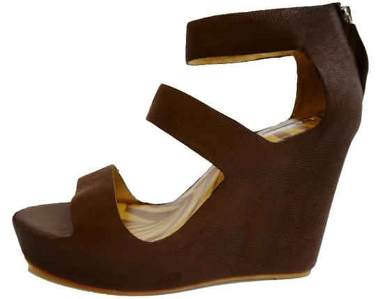 Matiko Leather Chocolate Brown Wedges