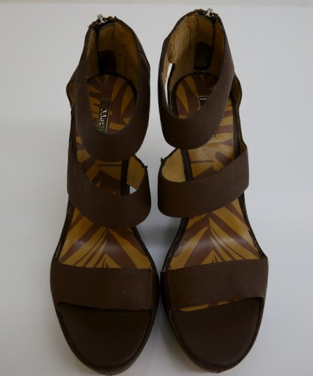 Matiko Leather Chocolate Brown Wedges Image 1